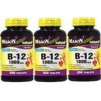 Mason Vitamins B-12 1000Mcg Sublingual Cyanocobalamin Tablets, 200-Count Bottles Pack of 3 Carrier to shipping international usps, ups, fedex, dhl, 14-28 Day By Dragon Shopping