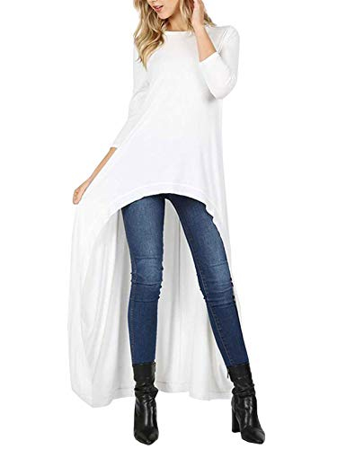 MixMatchy Women's 3/4 Sleeve High Low Casual Long Maxi Tunic Tops Ivory M