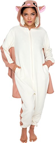 Silver Lilly Slim Fit Animal Pajamas - Adult One Piece Cosplay Flying Squirrel Costume (Cream/Brown, Small) ()