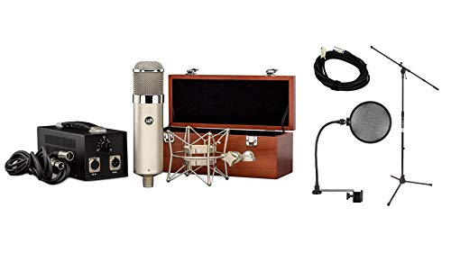 Warm Audio WA-47 Microphone Bundle with 20-foot XLR Cable & Pop Filter & Stand (4 - Microphone Vacuum Condenser Pattern Tube