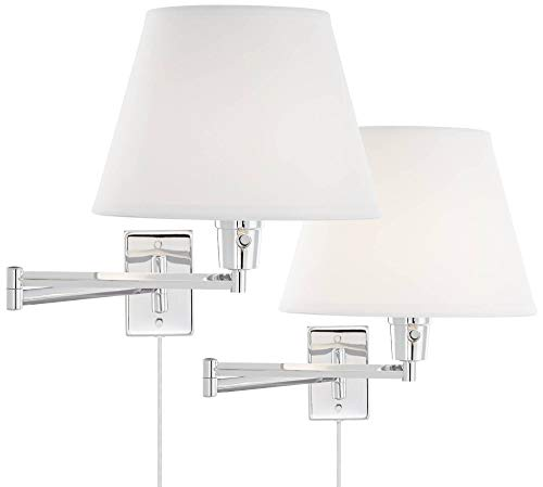Arms Contemporary Seating - Clement Chrome Swing Arm Wall Lamp Set of 2-360 Lighting