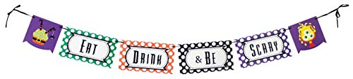Eat Drink & Be Scary Halloween Adjustable Ribbon Banner, 5 ½ to 7 Feet, Home Decoration, Family Party Supplies, by Havercamp