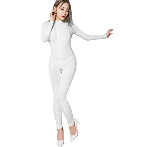 Galleon - 2018 Women Striped Sexy Bodysuit Zipper Long Sleeve Open Crotch  Lingerie Jumpsuit (White eb132fd69