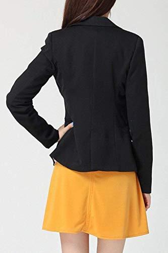 Da Casual Tailleur Giacca Puro Giovane Blazer Cappotto Business Manica Outerwear Moda Lunga Colore Button Bavero Donna Nero Autunno wxIUn7