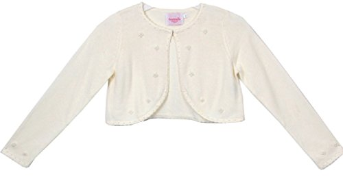 Little Girls Sweater Style Knit Cotton Bolero Pearl Jacket Ivory Size M (4-6) by P Dreamer P