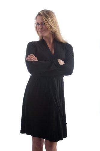 Yala Serenity Long Sleeve Short Belted Robe Black