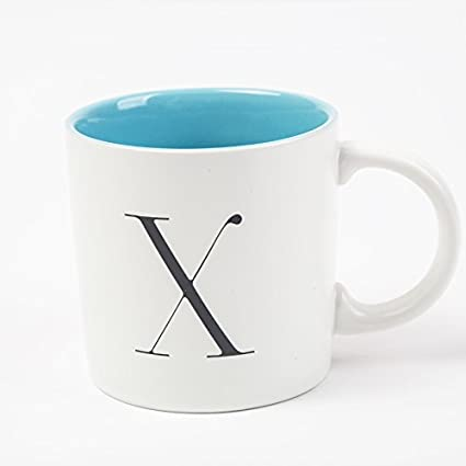 bpago black letter a 11oz ceramic coffee mugthe inside of the cup is blue
