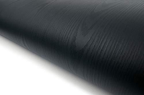 Wood Pattern Texture Interior Film Vinyl Self Adhesive Peel-Stick Removable (VBS869(Black)) (Black Texture)