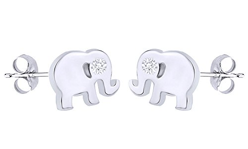 Zirconia Elephant Cubic - Round White Cubic Zirconia Elephant Stud Earrings In 14K White Gold Over Sterling Silver