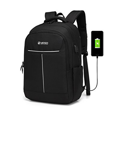 Business Laptop Backpack, College School Backpack with USB Charging/Headphones Port Water Resistant Durable Computer Bag for Women & Men Fits under 17 Inch Laptop Notebook Table, Grey by YESO by YESO