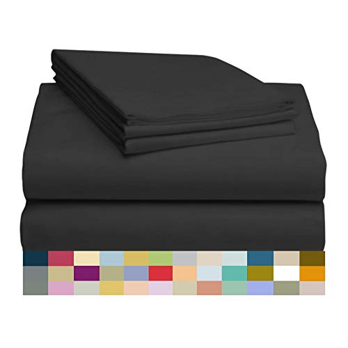 ber and Bamboo Sheet Set: Bamboo Bedding Sheets with Microfiber - Softer and More Breathable Than Cotton - Antibacterial and Hypoallergenic - Machine Washable, Black, Full ()