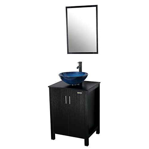 Eclife 24 inch Big Storage Bathroom Vanity Combo Modern MDF Cabinet with Vanity Mirror Tempered Glass Counter Top Vessel Sink with 1.5 GPM Faucet and Pop Up Drain (Blue Combo) by Eclife
