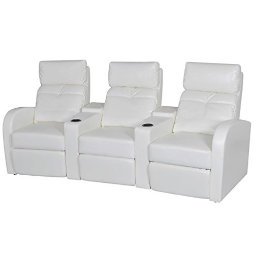 onded Leather Recliner Chair White Reclining Sofa Armchair with Adjustable Backrest and Footrest Home Cinema Office Furniture ()
