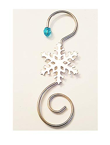 merry*kitschmas Swirl Ornament Hooks with Snowflake for Collectible Ornament Display, Pack of 24 (Silver/Blue)