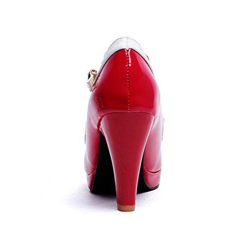 Y2y Rouge En Bloc Ete Bout Studio Noeuds Vernis Rond Pour Femmes Douce Partie Avec Sandales Laniere Et T Talon rUrWAqpwBc