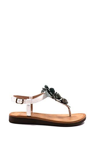 CHIC NANA . Sandales Plate Décorées de Fleurs. Blanc GLNAQ