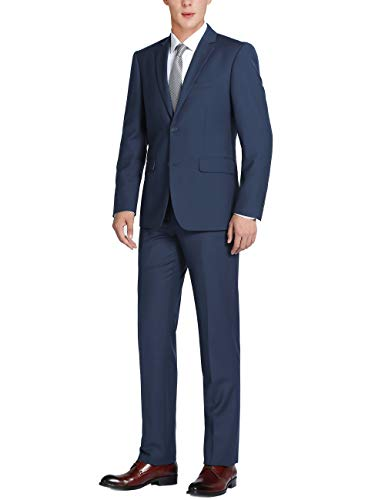Lined Two Button Suit - CHAMA Men's Solid Two Piece Two Button Classic Fit Business Suit-Many Colors Navy Blue