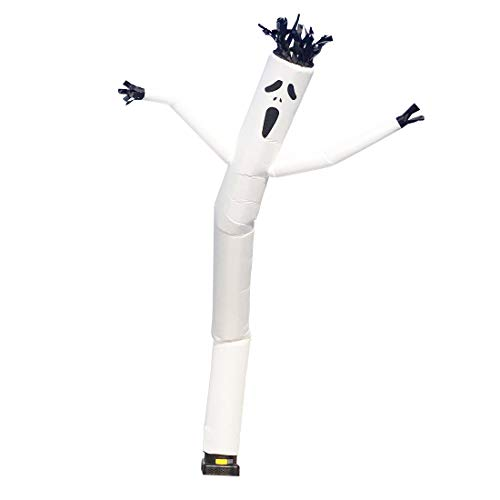Mkevi 20ft White Ghost Sky Air Puppet Dancer Inflatable Arm Flailing Tube Man Wacky Wavy Wind Flying Dancing Man for DIY Stand Out Halloween Advertising(NO 18IN Blower)