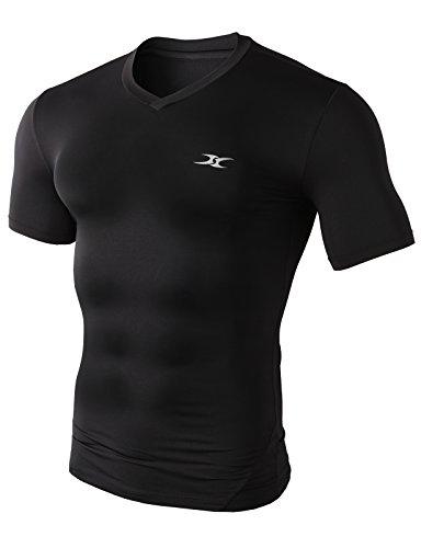 H2H SPORT Men's Skin Tight V-Neck Short Sleeve Compression Base Layer BLACK US L/Asia XXL (KMTTS0376)