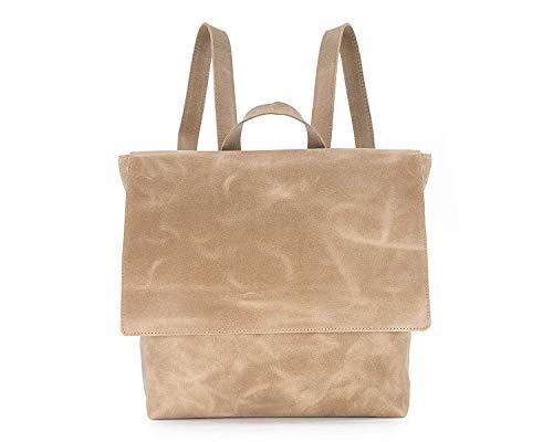 Leather Backpack with Zipper, Women Beige Minimalist Modern Purse Shoulder Bag, Laptop Handbag Gift for Her, Diaper Bag, Handmade by Mayko