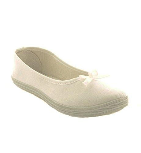 Damen Classic Slipper Schleife Leinenschuh Freizeitschuh Ballerina BAD659 Weiß