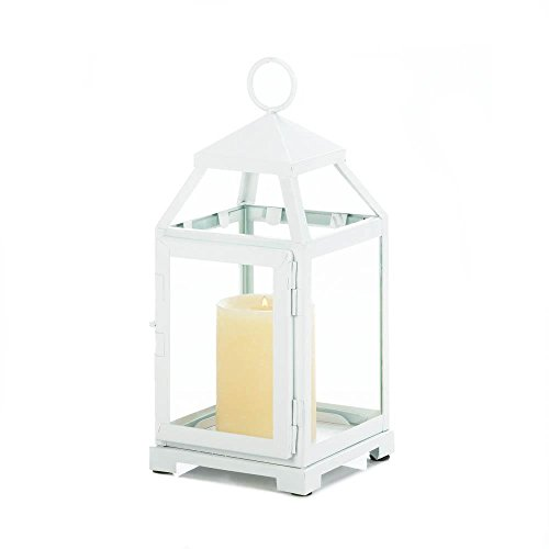 Gallery of Light Glass Candle Lantern, White Outdoor Decorative Modern Christmas Candle Lantern by Gallery of Light