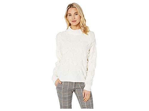 Vince Camuto Womens Long Sleeve Geometric Fringe Turtleneck Sweater Antique White MD