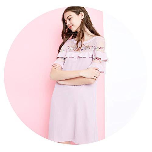 Vero Moda Embroidery O-Neck mesh Chiffon Splicing Party Summer Dress |31817B503,Keepsake Lilac,XS