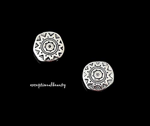 20 Antiqued Tibetan Silver 13mm Sun Flat Round Coin Spacer Accent Metal Beads