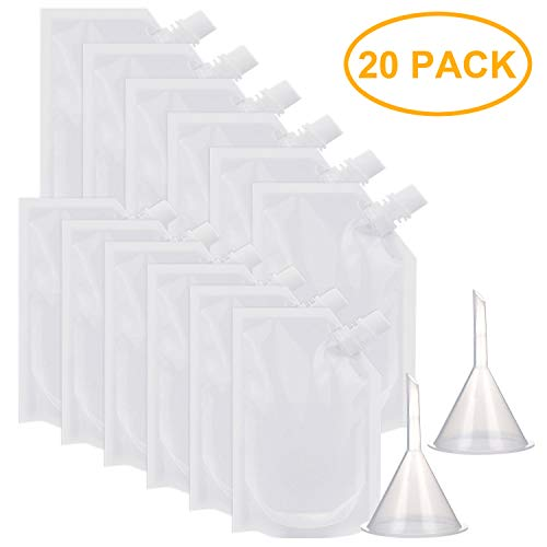 20 Pack Plastic Liquor Pouch Drinks Flasks Concealable Drinking Flasks 250 ml and 350 ml with 2 Pieces Funnel ()