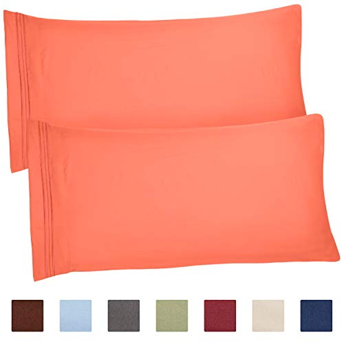 CGK Unlimited King Size Pillow Cases Set of 2 - Soft, Premium Quality Hypoallergenic Coral Pillowcase Covers - Machine Washable Protectors - 20x40, 20x36 & 20x48 Pillows for Sleeping 2 Pack ()