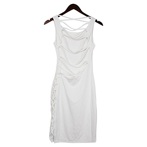 up Lace Bandage Women's Night Club Mini VANCOL Hollow Sexy Dress White Party Bodycon Out TCqIWR