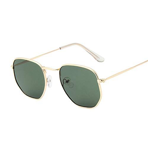 Women Small Square Sunglasses Men Metal Frame Driving Fishing Sun Glasses Female,Goldg15 -