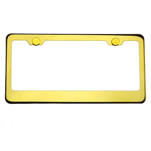 Polish Gold Chrome T304 Stainless Steel License Plate Frame Holder Front Or Rear Bracket with Aluminum Screw Cap