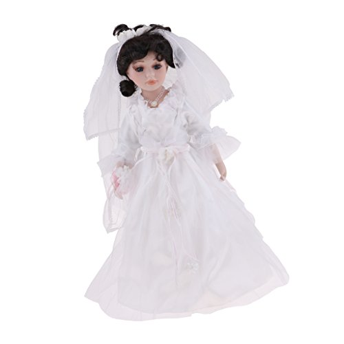 Porcelain Victorian Bride Doll - Baoblaze 40cm Elegant Porcelain Bride Girl Doll People with Wedding Dress for Kids Birthday Gifts
