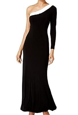 Calvin Klein White Colorblocked Sequin Ball Gown Dress Black 2