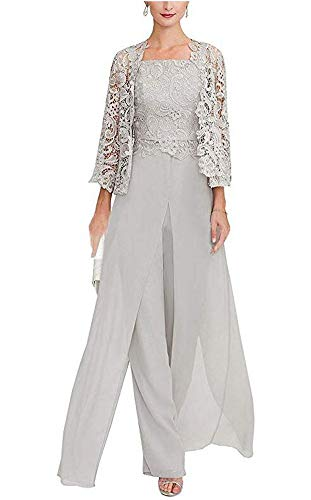 Women's 3 Pieces Chiffon Dress Mother of The Bride Pants Suits with Lace Jacket Wedding Outfit Evening Gown Silver US6