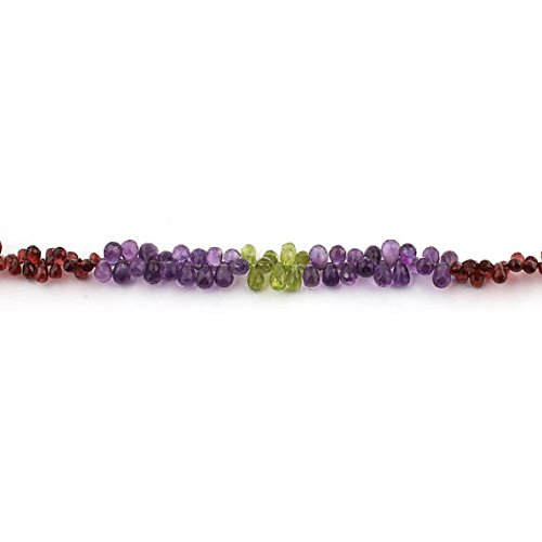 1 Strand Natural Amethyst, Garnet, Peridot Faceted Briolettes - Tear Drop Beads 4mmx6mm-9mmx5mm 8 Inches