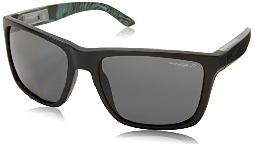 Arnette Witch Docto AN4177-16 Polarized Rectangular Sunglasses,Matte Black/Green Psychedelic inside/Polarized Grey,59 mm (Sunglasses Arnette Green)
