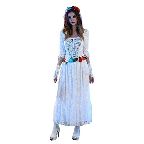 iYBUIA Novelty Women Lace Sexy White Lace Corpse Bride Dress Halloween Cosplay Party Costume(White,M)