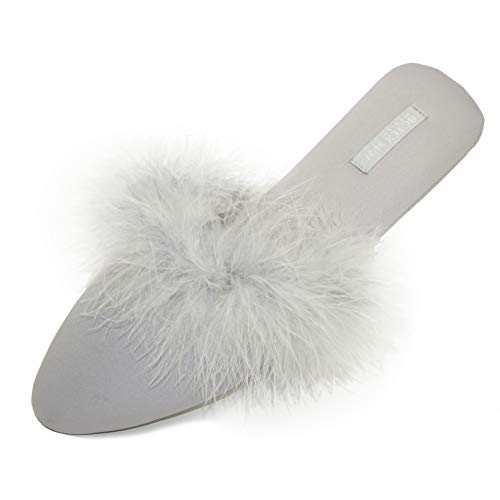 BCTEX COLL Women's Chic Slippers, Asymmetric Design Satin House Shoes Fluffy Feather Satin Slip on Mule Indoor/Outdoor No Slip Ladies Graceful Home Slippers with Rubber - Mules Satin