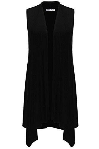 Sechico Womens Sleeveless Asymetric Hem Open Front Cardigan Top