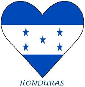 Honduras - Con forma de corazón de la bandera de - juego de 6 unidades de hierro-on blanca/luz algodón: Amazon.es: Hogar