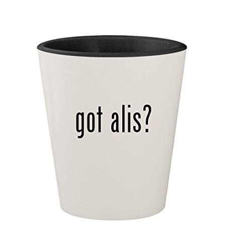 got alis? - Ceramic White Outer & Black Inner 1.5oz Shot Glass