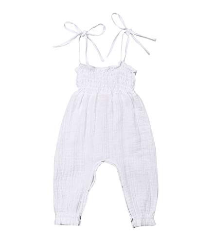 Kids Toddler Baby Girl Red Plaid Big Bow Sleeveless Romper Jumpsuit Trousers Clothes Outfits (T-White, 12-18 Months)
