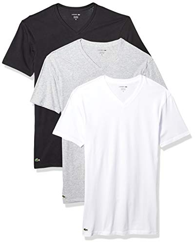 Lacoste Men's Classic Fit Cotton V Neck Tee, Multipack, Black, Grey, White, Medium
