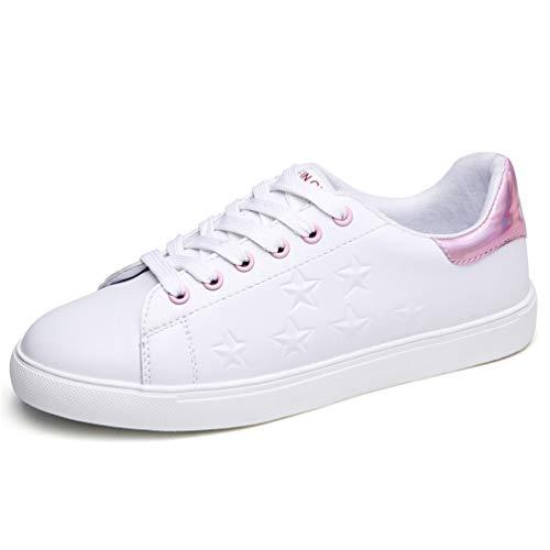 9863 de Mujeres de oto o Mujer de Zapatillas Goma Casual Rosa de Cuero Encaje Flat Zapatos Zapatos de Oxford Zapatillas SxqwUSPXr
