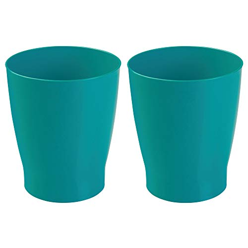 mDesign Slim Round Plastic Small Trash Can Wastebasket, Garbage Container Bin for Bathrooms, Powder Rooms, Kitchens, Home Offices, Kids Rooms - Pack of 2, Teal by mDesign