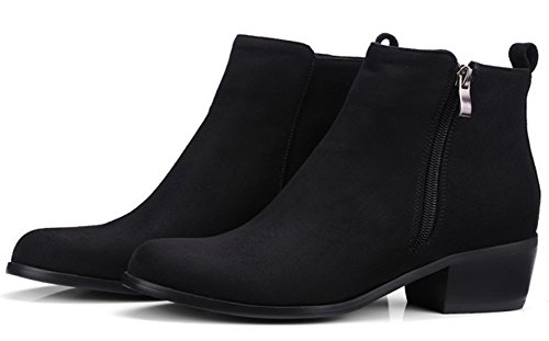 Up Black Short Suede Zip Boots Women's Low SHOWHOW Faux Comfy Heels wfp0q0aB