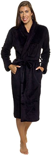 Silver Lilly Lightweight Kimono Robe for Women - Plush Comfy Longer Bathrobe by (Black, Plus Size - Tea Length Nightgown